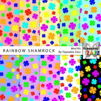 St Patrick Rainbow Shamrock Digital Paper or Background