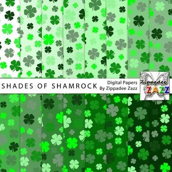 St Patrick Shades of Shamrock Digital Paper or Backgrounds