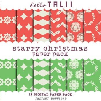 Digital Paper: Starry Christmas Digital Paper Pack