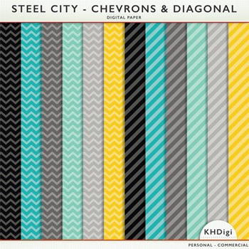 "Digital Paper - ""Steel City"" Chevrons and Diagonal Stripes"