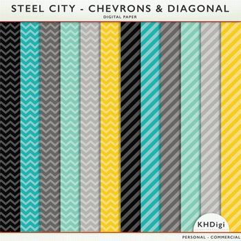 "Digital Paper - ""Steel City"" Chevrons and Diagonal Stripes"