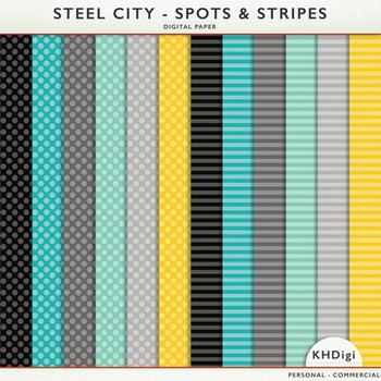 "Digital Paper - ""Steel City"" Stripes and Polka Dots"