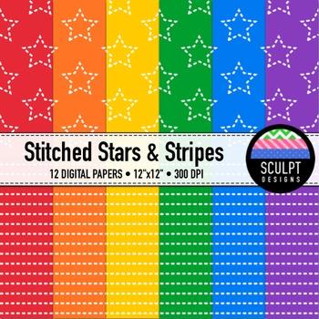 Digital Paper ~ Stitched Stars & Stripes ~ Bold Colors