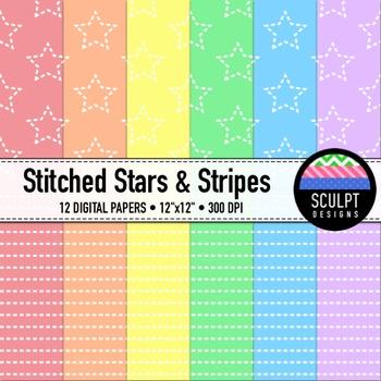 Digital Paper ~ Stitched Stars & Stripes ~ Soft Colors