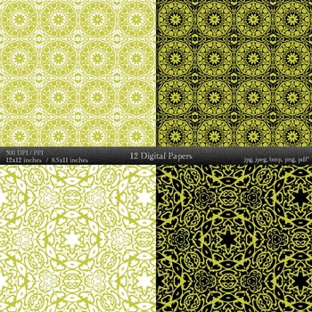 Digital Paper Style Texture Damask Jpg  Decoration Variety Indian Journal Cover