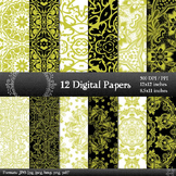 Digital Paper Style Texture Damask Jpg  Decoration Variety