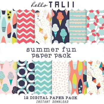Digital Paper: Summer Fun Patterns