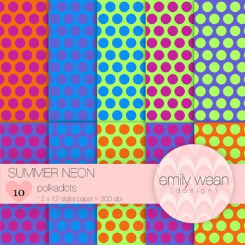 Summer Neon - Digital Paper - Polkadots