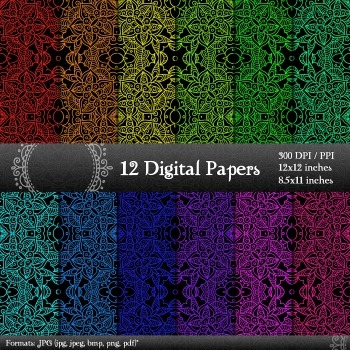 Digital Paper Supplie 12x12 + 8.5x11 Inch Layout Embellishment Jpg Henna Page A4