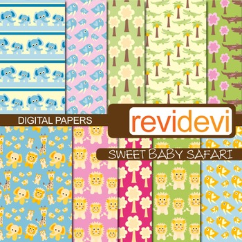 Digital Paper Sweet Baby Safari (patterned papers for background)