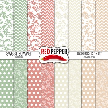 Digital Paper - Sweet Summer Damask