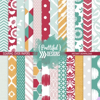 Digital Paper Teal Mustard Red Ikat Chevron Background - Soaring Over