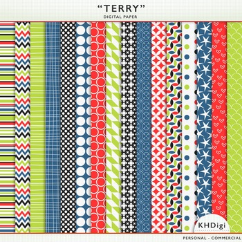 """Digital Paper - """"Terry""""  Blue Green Red"""