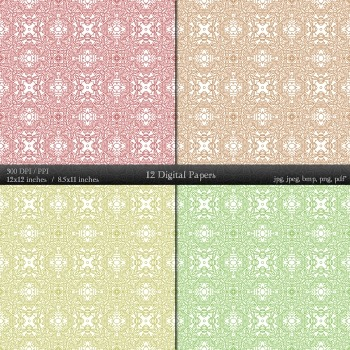 Digital Paper Texture Card Digital Flower Indian Abstract  Decoration Henna A4