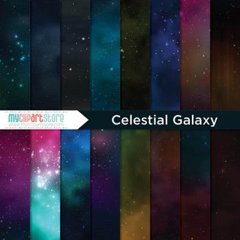 Digital Paper - Celestial Galaxy / Starry Night Sky