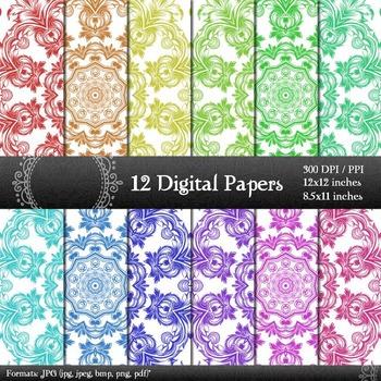 Damask Digital Paper DAMASK PAPER Damask Background Paper Damask Printable Damask Textures Vintage Damask Wallpaper A4 papers 8.5x11