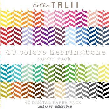 Digital Paper: Thin Herringbone + Gold and Silver Herringbone