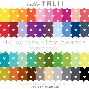 Digital Paper: Tiny Hearts Pattern + Gold and Silver Hearts