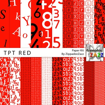 Digital Paper - TpT Teachers Alphabet / Numbers Red Paper