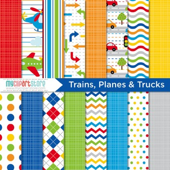 Digital Paper - Trains Planes and Trucks (Transportation)