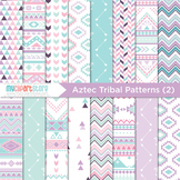 Digital Paper - Tribal Patterns (2) / Aztec / Native American Indian (pink)