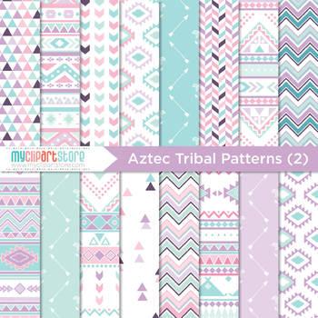 Digital Paper - Tribal Patterns (2) / Aztec / Native Ameri