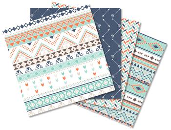Digital Paper - Tribal Patterns (3) Aztec / Native American Indian (blue orange)