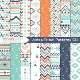 Digital Paper - Tribal Patterns (3) Aztec / Native American Indian (blue orange)