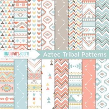 Digital Paper - Tribal Patterns / Aztec (1) Native American Indian