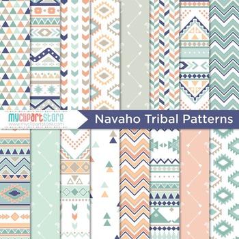 Digital Paper - Tribal Patterns / Navajo / Native American Indian