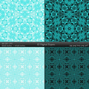 Digital Paper Variety Textile Layout Book Collag Style Printable Retro Abstract