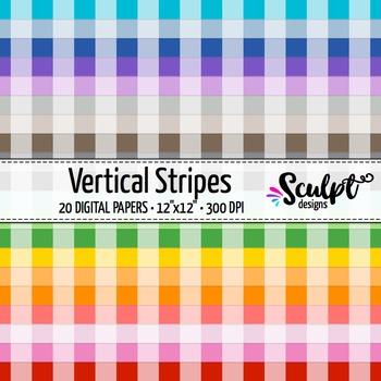 Digital Paper ~ Vertical Stripes ~ Twenty Colors
