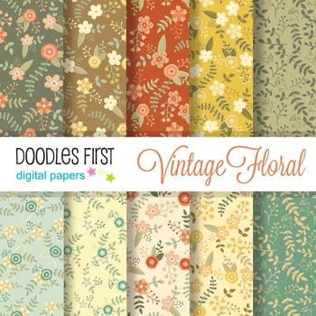 Digital Paper - Vintage Spring Florals great for Classroom art projects