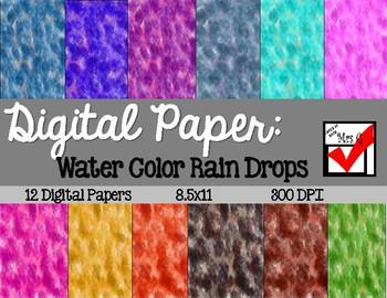 Digital Paper Water Color Raindrops