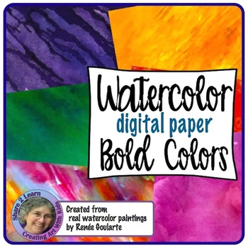 Digital Paper Watercolor Backgrounds Bold Colors