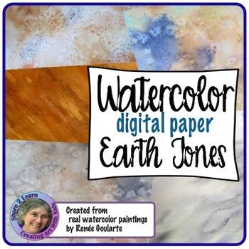 Digital Paper Watercolor Backgrounds Earth Tones