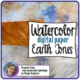 Digital Paper Watercolor Backgrounds Earth Tones