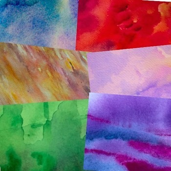 Digital Paper Watercolor Backgrounds Gem Tones