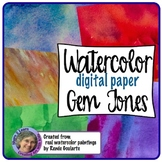 Digital Paper Watercolor Backgrounds Gem Tones