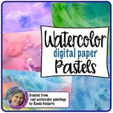 Digital Paper Watercolor Backgrounds Pastels