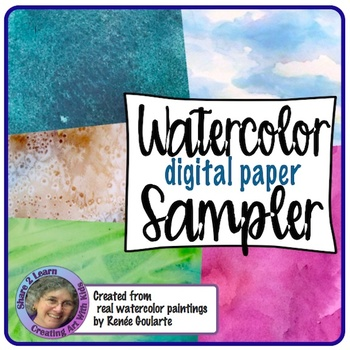 Digital Paper Watercolor Backgrounds Sampler
