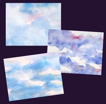 Digital Paper Watercolor Backgrounds Clouds Sky