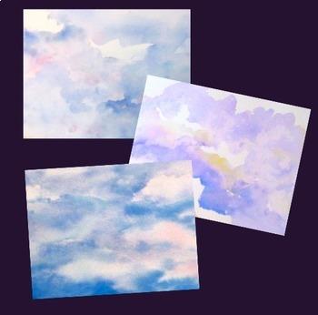 Digital Paper Watercolor Backgrounds Clouds Sky
