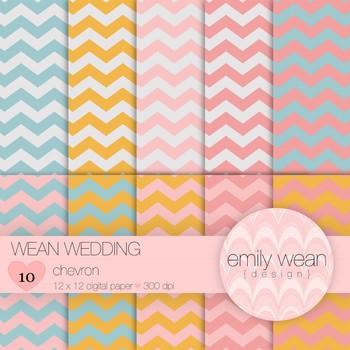 Wean Wedding - Digital Paper - Chevron Background