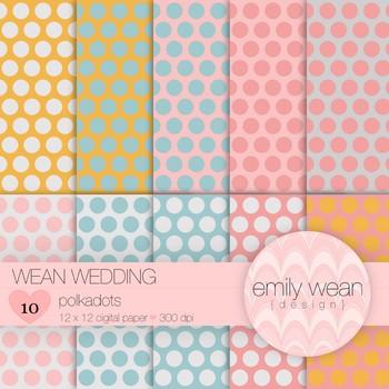 Wean Wedding  - Digital Paper - Polkadots Background