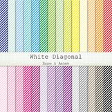 Digital Paper - White Diagonal Stripes