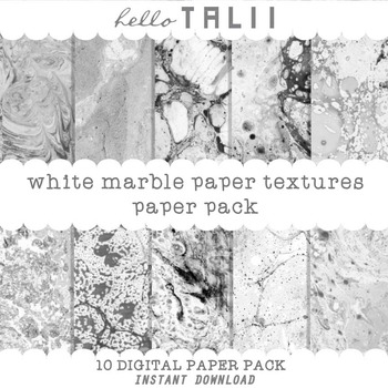 Digital Paper: White Marble Paper Pack