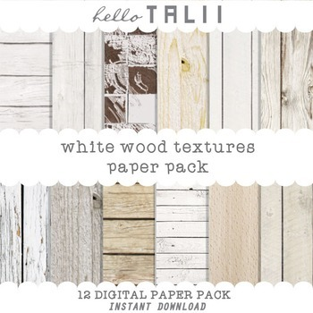 Digital Paper: White Wood Textures