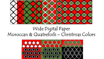 Digital Paper - Wide Moroccan & Quatrefoils - Christmas Colors