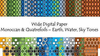 Digital Paper - Wide Moroccan & Quatrefoils - Earth Water Sky Tones